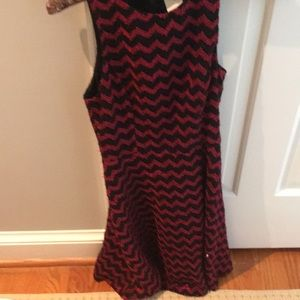 This very cute black and red laced chevron dress